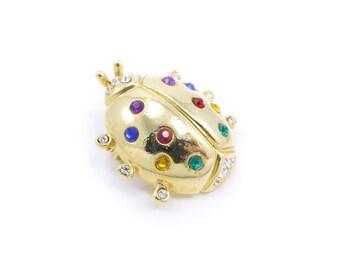 Vintage Ladybug Brooch, Multi Colored, Rhinestones, Gold Tone
