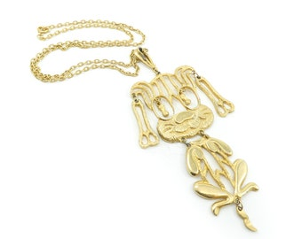 Vintage Articulated Dog Pendant, Necklace, Chain, Gold Tone