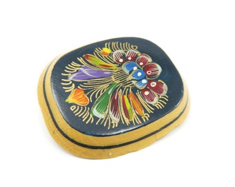 Vintage Handpainted Brooch, Lacquer, Multi Colored, Wood