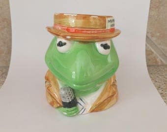 Vintage Kermit the Frog figural mug coffee cup Muppet News reporter statue pencil holder Jim Henson