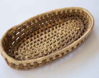 Brown Boat Woven Basket