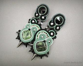 Black Sage Green Long Soutache Earrings, Jasper Earrings, Spike Earrings, Gothic Lolita Earrings, Mint Green Earrings, Black Silver Earrings