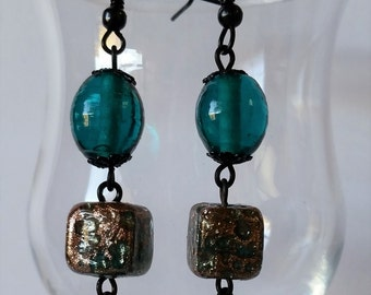 Teal and Copper Shape Earrings