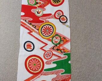 Cream kimono fabric /floral pattern/ Vintage Kimono fabric