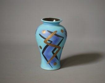 WEST GERMAN POTTERY Vase, Bay Keramik 483 20, Retro Modern Vase, Turquoise Blue Gold Gilt Glaze, Made in Germany, 1980s 'Memphis' Inspired