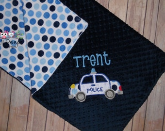 Police Car - Personalized Minky Baby Blanket - Navy & Polka Dots Minky - Embroidered Police Car