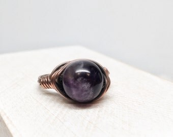 Purple amethyst ring - copper and amethyst wire wrapped oxidized ring size 6