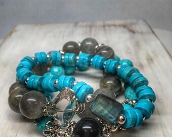 Turquoise beaded bracelet stacking set - triple bracelet stack - gemstone beaded bracelet