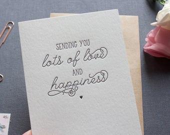 Letterpress Sending Love and Happiness - Little Heart
