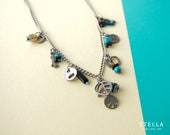 Steel Chain & Charms Necklace. Glass Beads, Gemstones, Pewter.  Turquoise, Brown, Blue, Black.