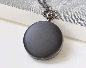 Matte Black Round Pocket Watch Set of 1 A8384
