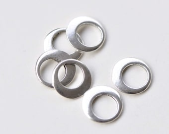 50 pcs Antique Silver Small Smooth Round Circle Rings 11mm A8765