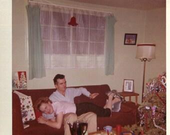 Vintage Photo..Christmas Spankings, 1950's Original Found Photo, Vernacular Photography