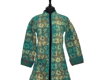 KANTHA JACKET - Small - Long style - Size 10/12 - Green design. Reverse green and brown.