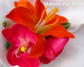 TROPICAL HAIR CLIP, wedding hair flower, flower clip, Bridal Hair piece Headpiece, Fascinator, Beach, Hawaiian flower, Wedding hair flower