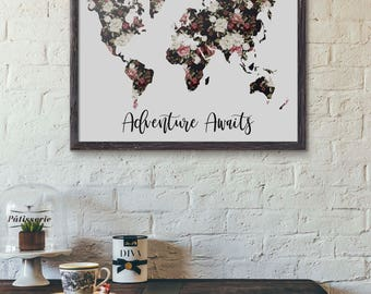 World map poster travel quote graduation gift world map floral map poster world map poster wedding guestbook floral world map black gumiabroncs Images
