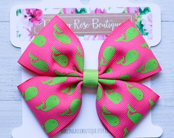 "Ready to ship! 4"" pink and green whale preppy print hair bow hairbow"