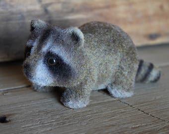 Josef Original Japan Flocked Fuzzy Raccoon with Original Label