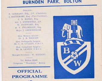 Vintage Football (soccer) Programme - Bolton Wanderers v Ipswich Town, 1966/67 season