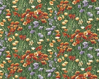 Wildflower fabric,  flower fabric, poppy fabric - Lighthouse Wonders by Lennie Honcoop Blank quilting, 8314 33 - priced by the 1/2 yard