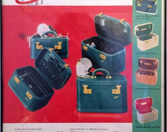 1950's Vintage Framed Print Ad - Skyway Luggage Traincase- Mid Century Advertising