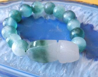 Carved Pixiu 12 mm Jade bracelet
