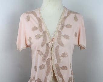 1930's Celanese and Lace Soft Pink Bed Jacket - UK 8 or 10