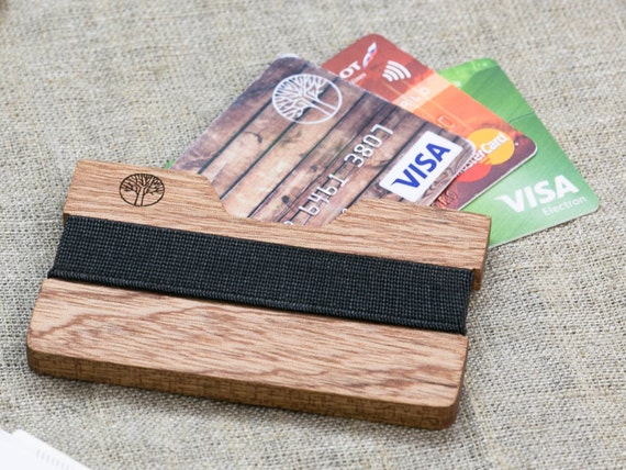 BEST slim Sapele wood wallet 3-5 card, black color strap / Best for boyfriend's gift / Slim & Light wallet / Mini Mens wallet / + Engraving