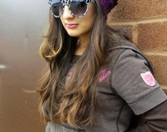 Purple Beanie, Pop Corn Textured Stitch, Crochet Winter Hat Teen Girls Ladies