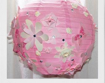 Pink Flowers paper lantern lampshade