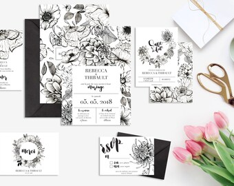 Printable wedding invitation + stationery kit wedding invitation rsvp save the date diner invitation thank you card Flowers Black and White