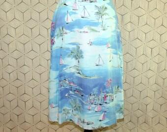 Womens Summer Skirt Novelty Print Skirt Petite Size 6 Skirt Cotton Skirt Midi Skirt Palm Trees Sailboats Cruise Resort Wear Womens Clothing