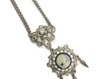 Vintage Cameo Pendant Necklace, Filigree and Rhinestone Accents, Victorian Revival, Costume Jewelry