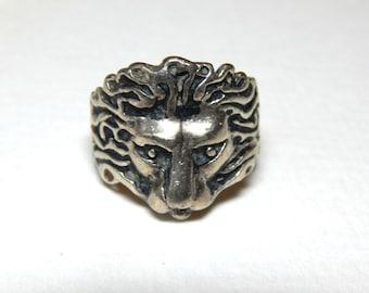 Vintage Sterling Silver Lion Ring - Antique Silver Lion Ring - Silver Lions Head Ring - Lion Ring - Lion Jewelry -Vintage Silver Lion Ring