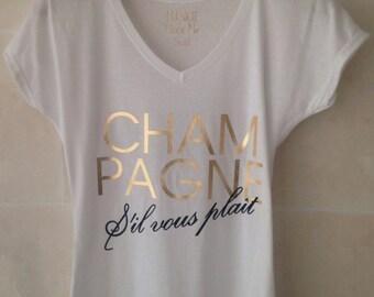 Champagne S'il Vous Plait Ladies Cap Sleeve V Neck Tshirt