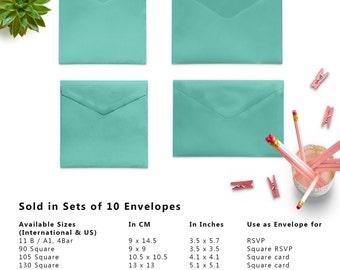 10 x Metallic Turquoise Envelopes, Teal Envelopes, 5x7 Envelopes, A2 Envelopes, A7 Envelopes, C5 Envelope, C6 Envelopes, Set of 10 Envelopes