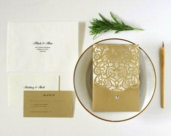 Gold Wedding Invitation, Romantic Wedding Invitation Card, White and Gold Wedding Invitations Australia, Rustic Wedding Invites,