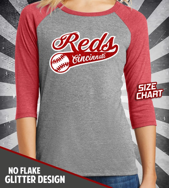 Cincinnati reds glitter bling 3 4 sleeve raglan t shirt top for Custom t shirts cincinnati