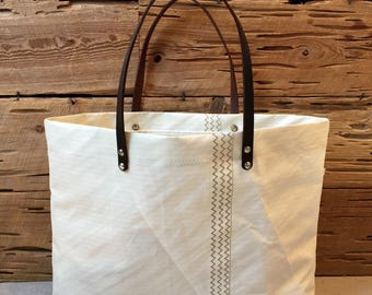 Pinstriped Recycled Sail Tote with Leather