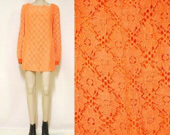 Vintage 70s Lace Dress Retro Orange Semi Sheer Mini Length Mod Hippie Vtg 1970s Size M-L