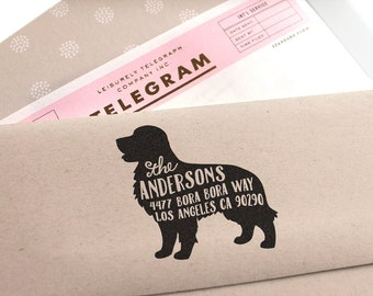 Custom Address Stamp - Golden Retriever Dog Return Address Stamp, customized gift for holidays, housewarming and weddings, school