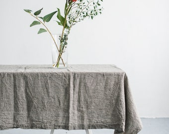 FREE SHIPPING | Washed natural linen grey strips tablecloth, Soft linen tablecloth