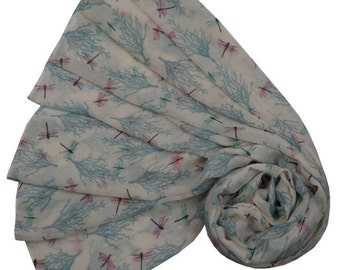 Ivory Scarf with Pink and Turquoise Blue Dragonfly Print, Ladies Trees and Dragonflies Wrap Shawl, Summer Scarf