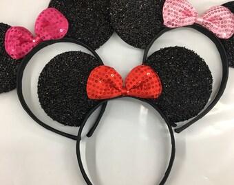 Holiday sales Sparkle minnie mouse ears headband / minnie inpried ears / disney ears headband /pink red Minnie headband/