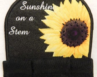Sunshine on a Stem, sunflower kitchen towel topper, different colors available
