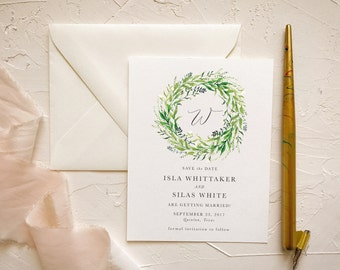 Wreath Greenery Save our Dates for Rustic Barn Wedding