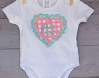 Personalized Monogram Scallop Heart Applique Shirt or Onesie Girl or Boy