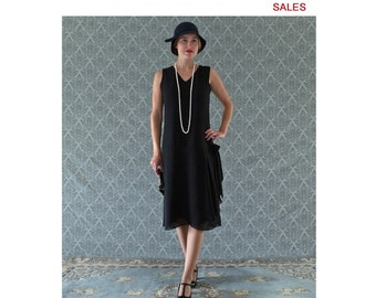 SALE - V neck black flapper dress with drape and bow, black Great Gatsby dress, 1920s flapper dress, Downton Abbey evening dress, 20s dress
