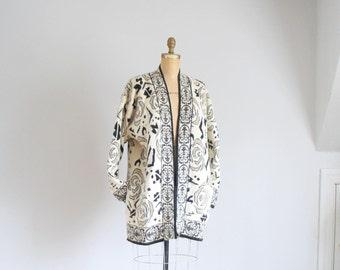 80s metallic rose angora sweater jacket