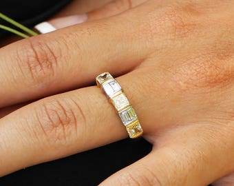 Estate Fancy Yellow Diamond Band with Baguettes in Platinum 18K Gold 2.00ctw